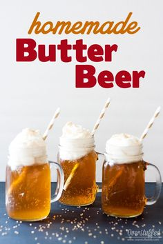 Potter Book Club Ideas Easy recipe for Harry Potter Homemade Butter Beer.Easy recipe for Harry Potter Homemade Butter Beer. Theme Harry Potter, Harry Potter Baby Shower, Harry Potter Food, Harry Potter Birthday, Harry Potter Drinks, Non Alcoholic Drinks, Fun Drinks, Yummy Drinks, Beverages