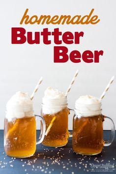 Easy recipe for Harry Potter Homemade Butter Beer. Delicious! #overstuffedlife