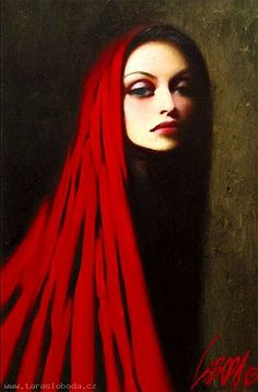 By the artist ~ Taras Loboda.  He paints his wife on many days - in different colors.