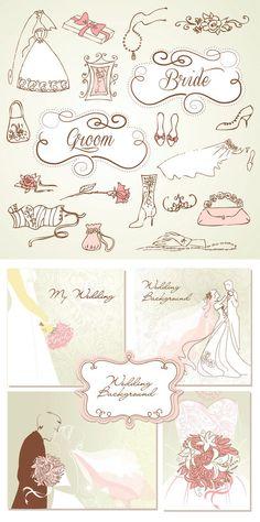Decorative Wedding design vector, Digital Frame Clipart, Flourish Clip Art, Digital Wedding Clipart, Clip Art Frame - INSTANT DOWNLOAD