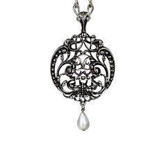 Vintage Cabochon Glass necklace Silver Charm pendants( we wear black)