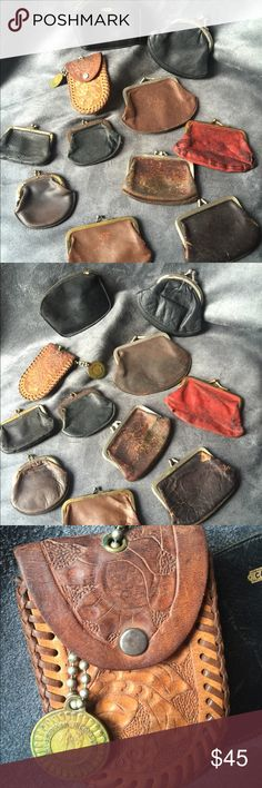 VINTAGE Authentic Coin purses from 20's-30's-40's VINTAGE Authentic Coin purses from 20's-30's-40's. These were purchased at an antique estate sale in Northern Kentucky. These are all very old and in delicate condition. Selling them all together.  I have one displayed in my posh office.. It gives me inspiration to keep going.. I just think, the original owners of these probably carried their whole pay in this during the depression... If they could make it, so can I. Bags Wallets
