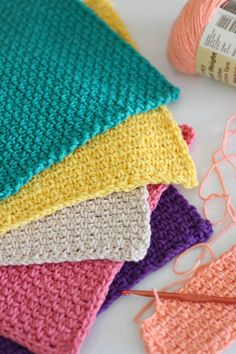Easy Hand Crocheted Washcloths worked up in a simple pattern. Get it now from The Log Home Kitchen!