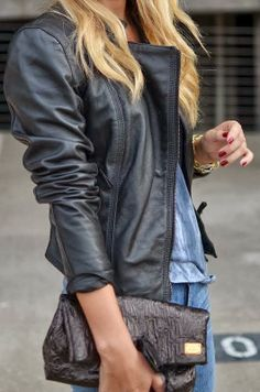 Attractive black leather jacket with clutch