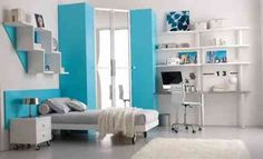 Chambre ado fille en bleu et en blanc