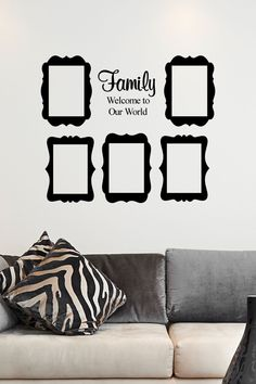 custom family welcome to our world with five 5x7 frames vinyl decal vinyl wall decal
