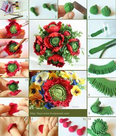 Polymer Clay flower tutorial – I think this can be made from fondant or gum paste to decorate a cake wanna do this sooo bad Fondant Flower Tutorial, Fondant Flowers, Sugar Flowers, Paper Flowers, Ring Tutorial, Polymer Clay Projects, Polymer Clay Crafts, Gum Paste Flowers, Polymer Clay Flowers