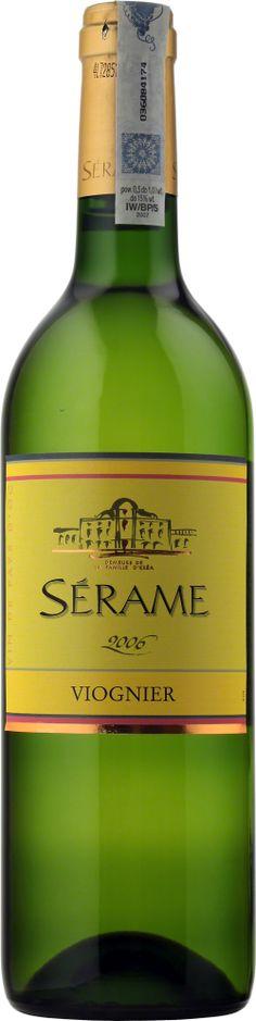 Serame Viognier Vin de Pays D'Oc Błyszcząca, jasnożółta barwa ze złotymi refleksami. Dominują aromaty trawy cytrynowej i kwiatów. Bardzo eleganckie, ciepłe i bogate.  #Winezja #Langwedocja #Viognier #Wino Saint Chinian, Bottle, Flask, Jars