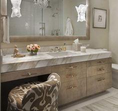 Paola Salinas: Chic master bathroom with gray ikat vanity stool and gray bath rug. Bathroom cabinets ... Bathroom Vanity Stool, Counter Top Sink Bathroom, Bathroom Vanity Designs, White Vanity Bathroom, Wooden Bathroom, Master Bathroom, Bathroom Ideas, Vanity Chairs, Bathroom Vanities