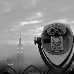 Black and white New york city photography, Empire State Building in fog, urban Manhattan viewfinder monochrome 5x5 print. $15.00, via Etsy.
