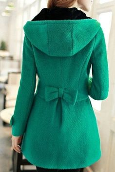 11. Back Bow - 27 #Lovely Winter Coats to Keep You Warm This Year ... → #Fashion [ more at http://fashion.allwomenstalk.com ]  #Traditional #Coats #Adorable #Black #Red