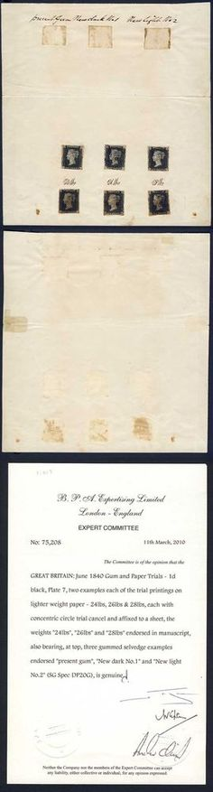 DP20G Paper and Gum Trials with Six plate 7 Blacks on Official Document | eBay