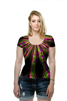 This 3D purple clematis flower with green leaves looks fabulous with the digital abstract effects. By Susan Golis. All Over Printed Art #Fashion #T-Shirt by #OArtTee $49.00