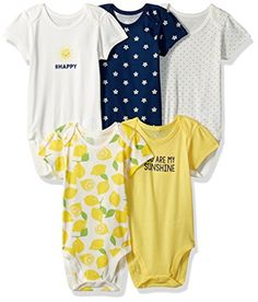 The Children's Place Girls' Sweet Li'l Printed Bodysuits (Pack of 5), You are My Sunshine, 12-18 Months Baby Girl Clothes