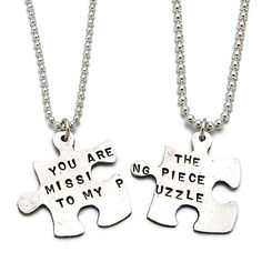 MISSING PIECE PUZZLE NECKLACE | Unique, Symbolic, Matching Silver Puzzle Necklaces for You and the One Who Completes You, Handmade by Kathy Bransfield |     Xmas gift for mom?