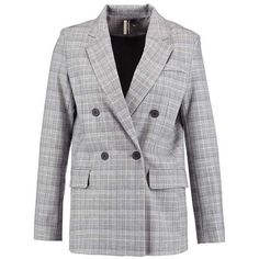 B&&B CHECK Blazer grey ❤ liked on Polyvore featuring outerwear, jackets, blazers, checkered jacket, gray jacket, gray blazer, checkered blazer and checked blazer