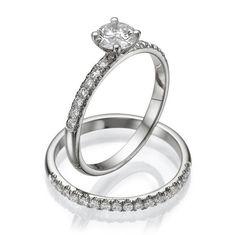 Classic Wedding Rings Set, Handmade Vintage Style Diamond Engagement Rings Set, Antique Ring Set, Unique Designer Wedding Set