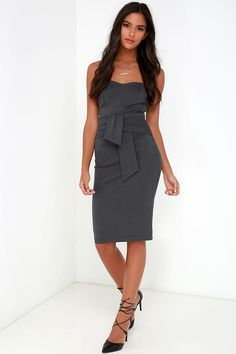 Sash Appeal Dark Grey Strapless Dress at Lulus.com!