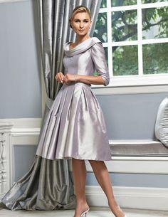 Ian Stuart silk dupion dress in grey pearl.Style number: ISL565