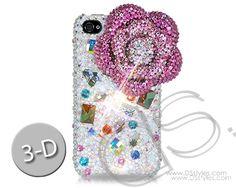 Floral Scattered 3D Bling Swarovski Crystal Phone Case - Pink             http://www.dsstyles.com/product/floral-scattered-3d-bling-swarovski-crystal-phone-case---pink