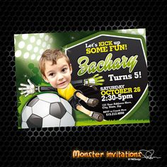 Soccer Invitation Soccer Party Soccer by MonsterInvitations Soccer Birthday Parties, 1st Birthday Themes, Sports Birthday, Soccer Party, Sports Party, Boy Birthday, Soccer Ball, Monster Invitations, Baby Shower