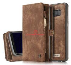 CaseMe Samsung Galaxy S8 Plus Zipper Wallet Detachable 2 in 1 Folio Case Brown