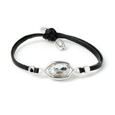 Bracelet CENTRE DE L'UNIVERS Matériaux:Cristaux Swarovski Elements, cuir et laiton couleur argent .