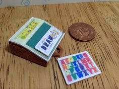 Hand made Dolls house Miniature replica vintage fisher price school desk 1/12 scale