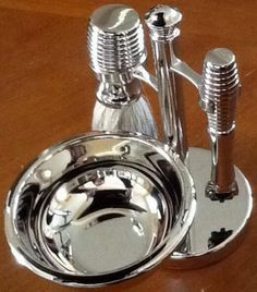 Four Piece Chrome Shaving Shave Set On Stand Bb10 W/ Mach 3 Razor & Badger Brush