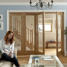 Roomfold internal divider from JELD-WEN Room Divider Doors, Folding Room Dividers, Folding Walls, House Doors, Back Doors, House Ideas, Windows, Furniture, Home Decor