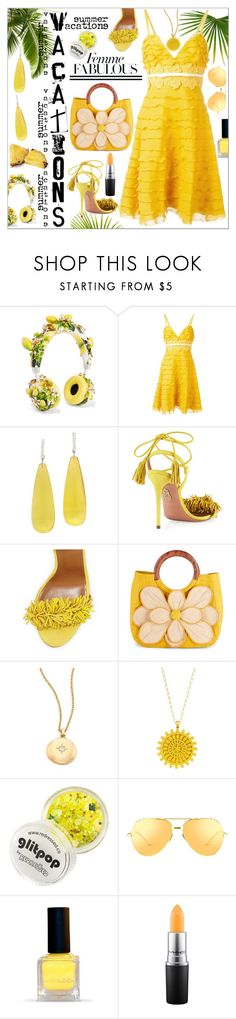 """Yellow Outfit"" by calamity-jane-always ❤ liked on Polyvore featuring Dolce&Gabbana, Giambattista Valli, Michael Kanners, Aquazzura, Mar y Sol, Astley Clarke, Dogeared, Linda Farrow, MAC Cosmetics and fashionset"