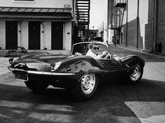Steve McQueen in a Jaguar XKSS