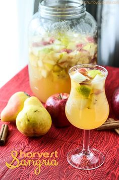 Harvest Sangria - a warm autumn blend. Fall Cocktails, Fall Drinks, Holiday Drinks, Party Drinks, Cocktail Drinks, Alcoholic Drinks, Fall Sangria, Cranberry Cocktail, Wine Cocktails