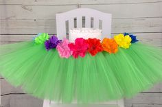 Excited to share this item from my #etsy shop: Luau High Chair Tutu , Luau Cake Smash, Hawaiian 1st Birthday Decor, High Chair Banner, HighChair Skirt, First Birthday Decorations