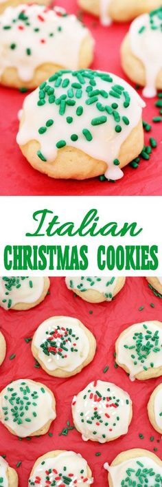 Italian Christmas Cookies Soft, tender Italian Christmas cookies with hints of lemon and vanilla, smothered in icing and sprinkles, perfectly fitting for the season. Italian Christmas Cookies, Christmas Deserts, Italian Cookies, Christmas Treats, Christmas Baking, Christmas Foods, Italian Desserts, Christmas Drinks, Holiday Foods