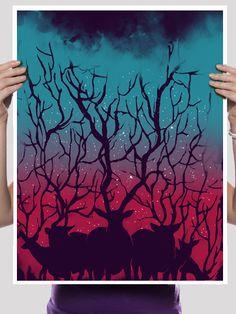 Deer Forest 18x24 Art Print