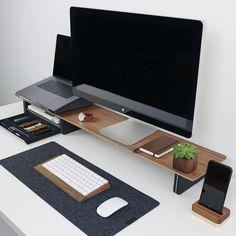 We've compiled the best office desk setup ideas, ergonomic desk setups, and gaming setup for you! All images were sourced. Home Office Setup, Office Workspace, Home Office Design, Workspace Design, Office Style, Bureau Design, Office Designs, Computer Desk Setup, Laptop Gaming Setup