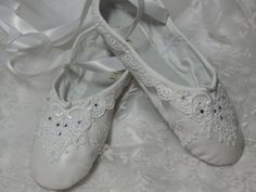 Decorated ballet slippers. Bridal shoes. Bridesmaid shoes. First communion. Debutante. Flower girl. Custom  shoes available.