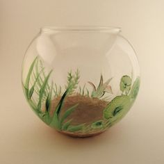 Hand-painted fish bowl!  When water is put in it looks like the plants are moving as you walk around the bowl.  Great for a Betta fish!