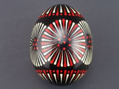 Japanese Black, Red, and Gray Geometric Design Pysanky    egg pysanky tools - Google Search