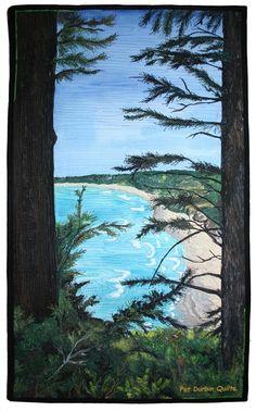Crescent View: a landscape quilt by Pat Durbin.  Celebrity mini-quilt auction - Houston.