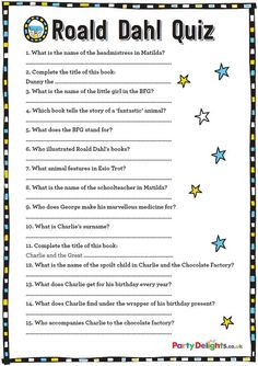 Ideas Dance Games For Kids Free Printable For 2019 Roald Dahl Games, Roald Dahl Activities, Roald Dahl Day, Roald Dahl Books, World Book Day Activities, World Book Day Ideas, Library Activities, Quizzes For Kids, Free Games For Kids