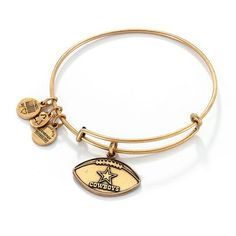 #Zales - #Sterling Jewelers Inc Alex and Ani Dallas Cowboys Football Charm Bangle in Gold-Tone Brass - AdoreWe.com