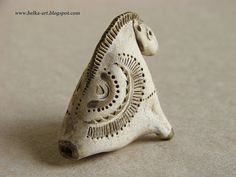 """Whistle """"Konica""""  fireclay white clay, acrylic Russian artist"""