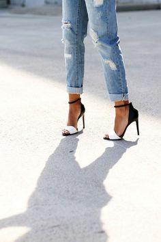 shoes ripped jeans high heels heels black white jeans boyfriend jeans босоножки black and white pumps black and white heels pumps sandals black and white Stilettos, Schnür Heels, High Heels, Strap Heels, Ankle Straps, Sandal Heels, Sexy Heels, Black Heels, White Heels Outfit