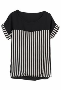 White And Black Stripes Chiffon Blouse