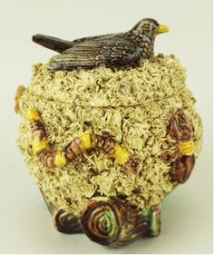 Portuguese, Palissy Style Majolica Tobacco Jar, Bird Finial