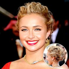 To try the style, curl the entire head with a one-inch iron, then, leaving out the front hair, pull the back into a low bun. Working in small sections, twist back strands from the front and sides, and tuck into the bun with bobby pins. Don't worry if it's bumpy or uneven—with this style, that's exactly the point.