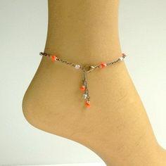 Anklet Ankle Bracelet | Orange Anklet Bright Summer Ankle Bracelet by ReneeBrownsDesigns, $16 ...