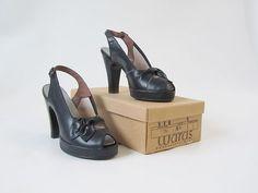 Vintage 1930's 1940s Shoes Peeptoe Platform Heels